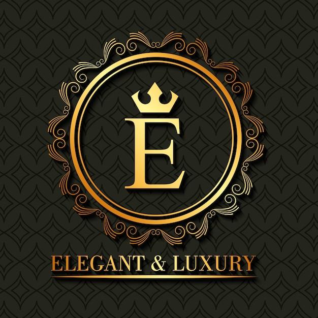 Oro elegante y monograma de lujo alrededor del marco floral ...