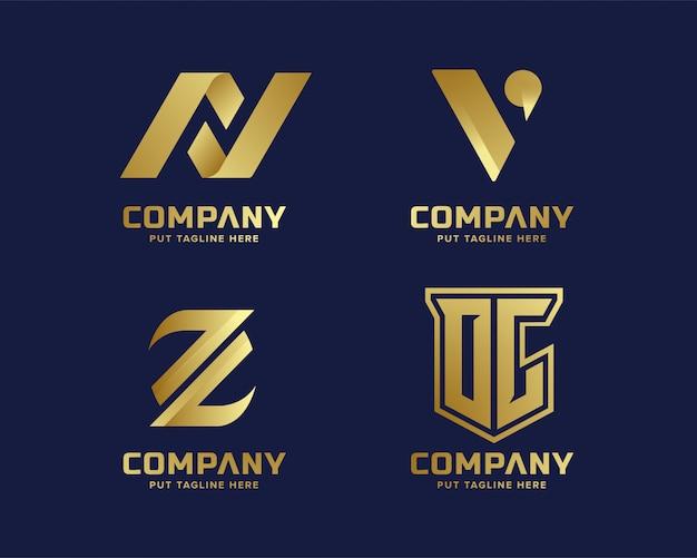 Oro de lujo de negocios y elegante carta inicial logotipo plantilla Vector Premium
