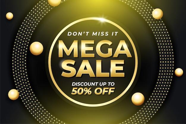Oro mega venta banner plantilla 3d bola de oro Vector Premium
