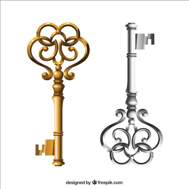 Oro y plata llaves en estilo retro vector gratuito