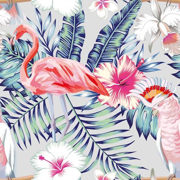 Orquídea hibiscus flamingo loro patrón luz Vector Premium