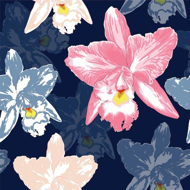 La orquídea rosada hermosa del modelo inconsútil florece en fondo azul marino del color Vector Premium