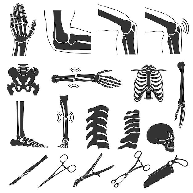 Ortopedia y espina dorsal vector símbolos negros. iconos de huesos humanos Vector Premium