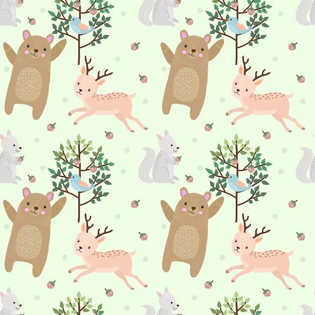Oso y ciervos en el bosque de patrones sin fisuras. Vector Premium