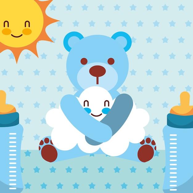 Oso de juguete azul abraza botellas de dibujos animados de nubes ...