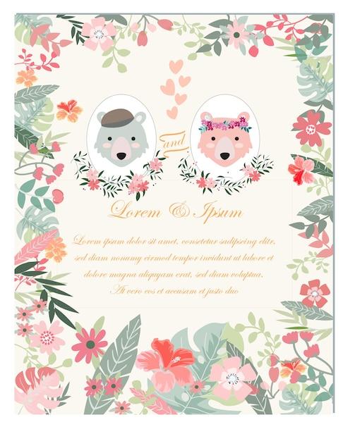 Oso de peluche novia y el novio en la tarjeta de boda de marco de ...