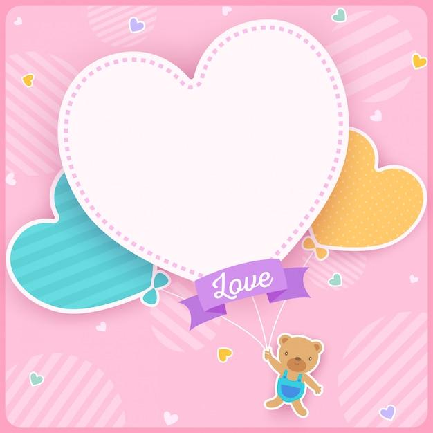 Oso globo del corazon Vector Premium