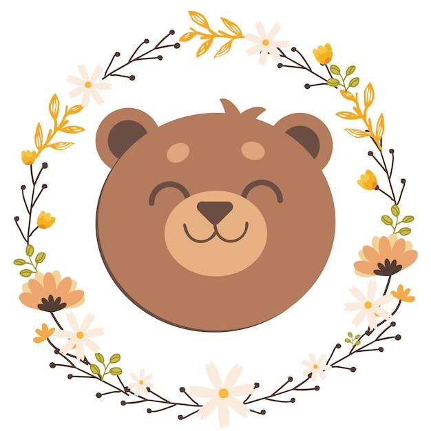 El oso de peluche en anillo de flores Vector Premium