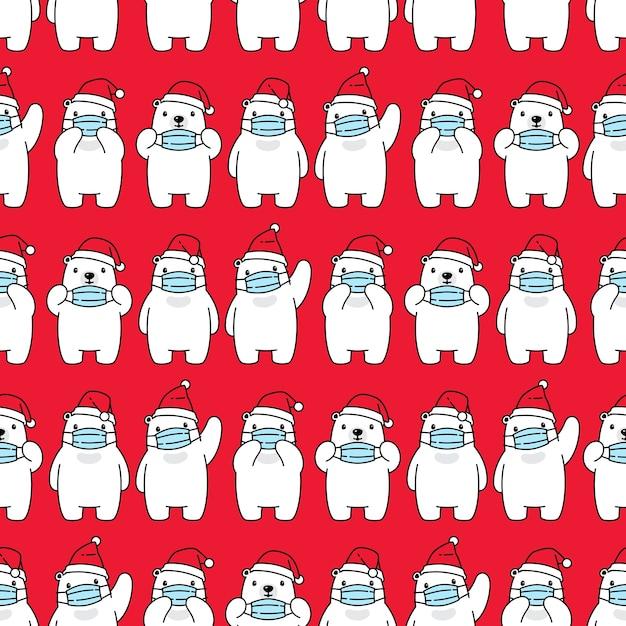 Oso polar de patrones sin fisuras navidad santa claus mascarilla covid19 Vector Premium