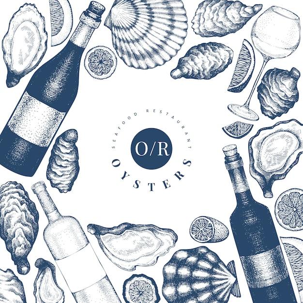 Ostras y diseño de vino. dibujado a mano ilustración. mariscos. Vector Premium