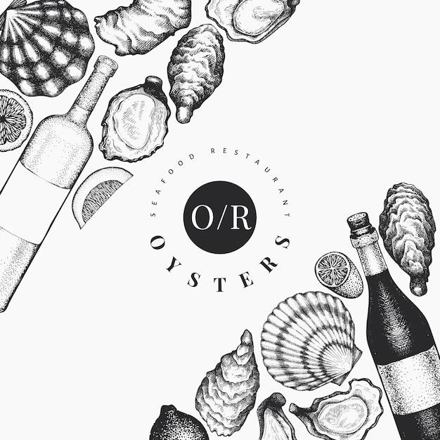 Ostras y plantilla de vino. dibujado a mano ilustración. banner de mariscos. se puede utilizar para el menú de diseño, envases, recetas, etiquetas, mercado de pescado, productos del mar. Vector Premium