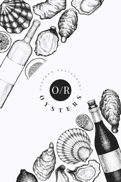 Ostras y plantilla de vino. dibujado a mano ilustración. mariscos . Vector Premium