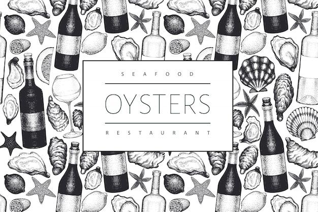 Ostras y vino. dibujado a mano ilustración. mariscos . se puede utilizar para el menú de diseño, envases, recetas, etiquetas, mercado de pescado, productos del mar. Vector Premium