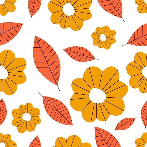 Otoño botánico de patrones sin fisuras con hojas y flores Vector Premium