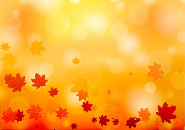 Otoño resumen de antecedentes. fondo con la caída de las hojas de otoño. Vector Premium