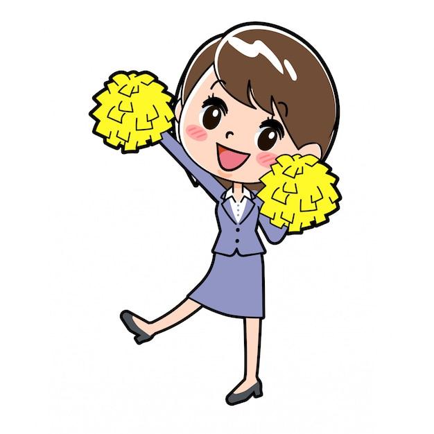 Out line mujer de negocios cheer jump Vector Premium