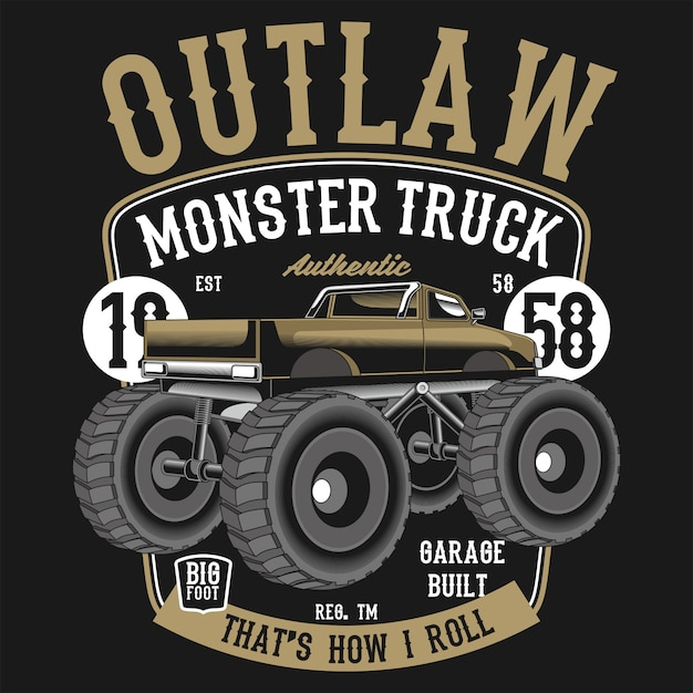 Outlaw monster truck Vector Premium