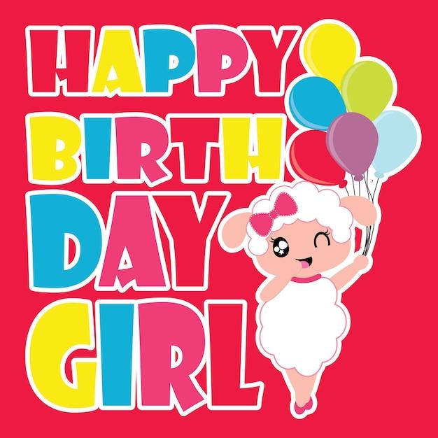 Ovejas niña brinngs colorido globos vector de dibujos animados para la tarjeta de cumpleaños Vector Premium