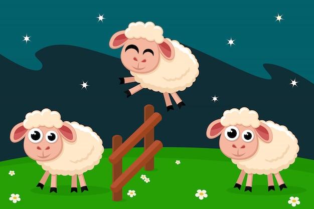 Las ovejas saltan por encima de la valla, contando antes de acostarse. Vector Premium