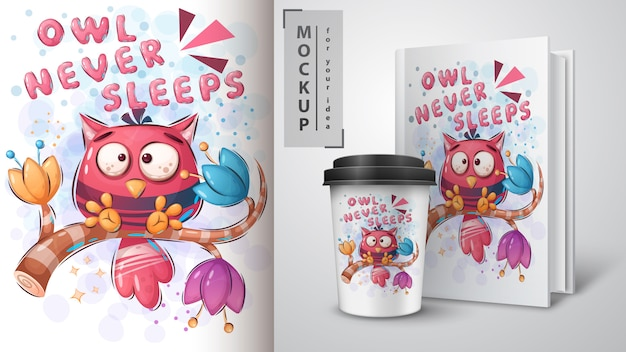 Owl nunca duerme póster y merchandising vector gratuito