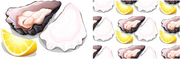 Oysten y limón sin costuras en blanco vector gratuito