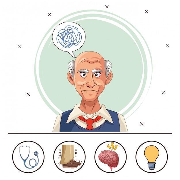 Paciente anciano de la enfermedad de alzheimer con conjunto de iconos Vector Premium