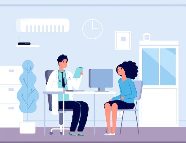 Paciente en consultorio médico. consulta médica médica. pacientes de tratamiento de diagnóstico en el hospital, concepto de vector de salud Vector Premium