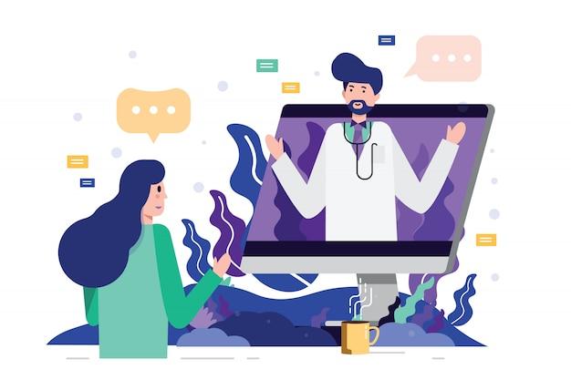 Paciente femenino que encuentra a un doctor profesional en línea en una mesa del ordenador. Vector Premium