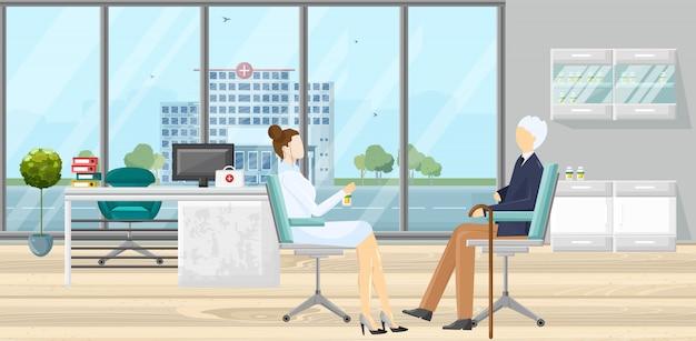 Paciente en la ilustración de consulta médica Vector Premium