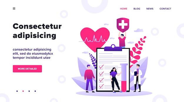 Pacientes y médico anunciando seguro de salud. personas que presentan lista de verificación médica. ilustración para el concepto de atención médica, protección, seguridad, servicio médico Vector Premium