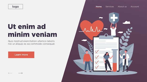 Pacientes y médico anunciando seguro de salud Vector Premium