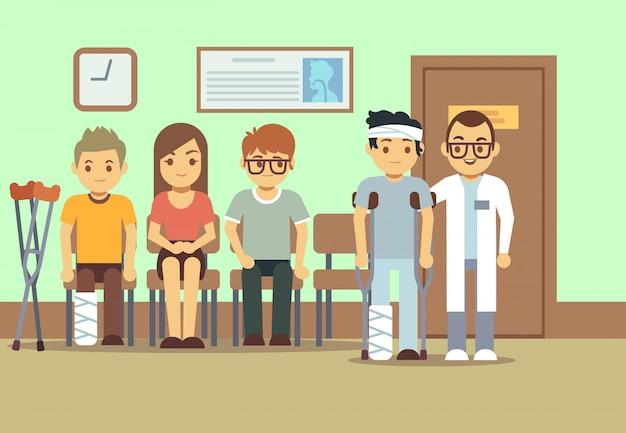 Emergency Room Waiting Cartoon Pacientes en sala de e...