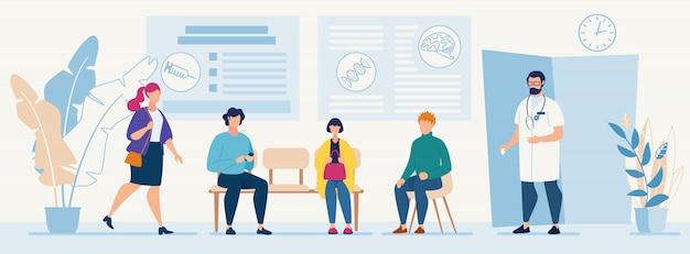 Pacientes sentados en sillas en espera de cita en la consulta del médico del hospital Vector Premium