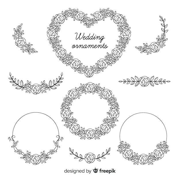 Pack adornos florales de boda dibujados a mano vector gratuito