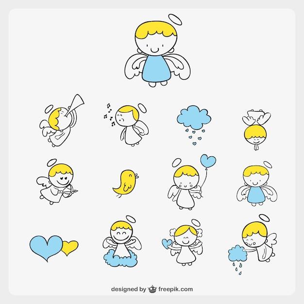 Pack de ángeles estilo cómic vector gratuito