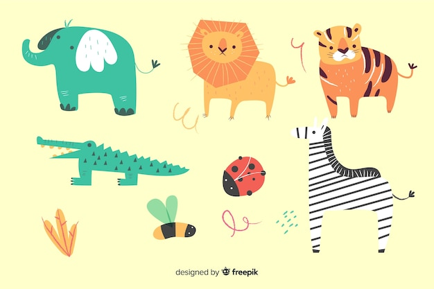 Pack animal en estilo infantil vector gratuito