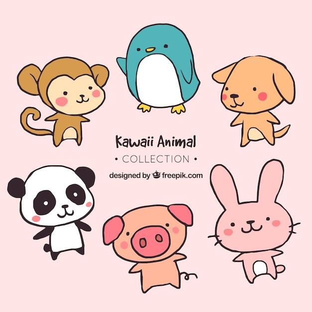Pack de animales bonitos dibujados a mano Vector Premium