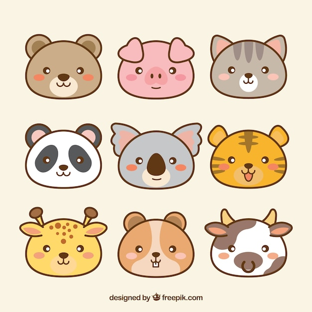 Pack de animales kawaii dibujados a mano vector gratuito