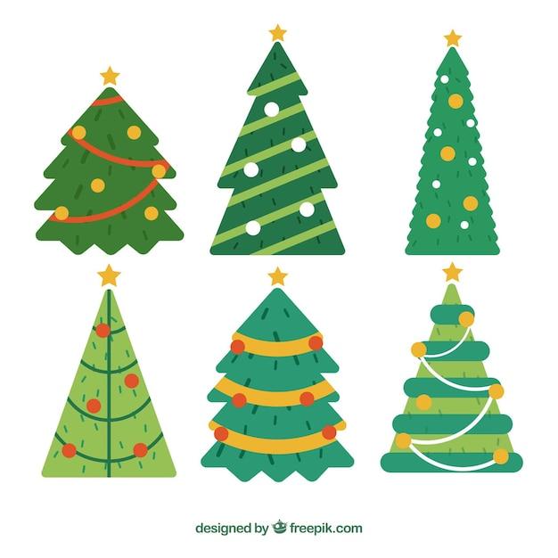 Pack De Arboles De Navidad Decorados Descargar Vectores Gratis