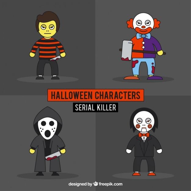 Pack de asesinos en serie de halloween dibujados a mano vector gratuito