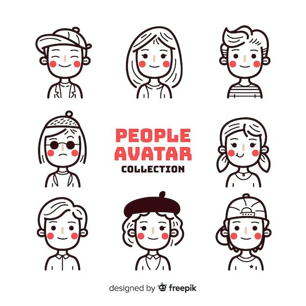 Pack avatares personas sin color vector gratuito