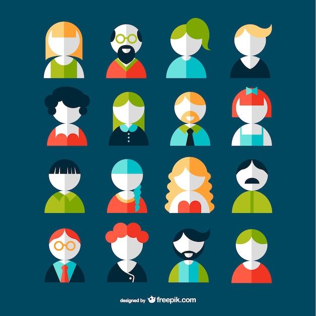 Pack de avatars de usuarios vector gratuito