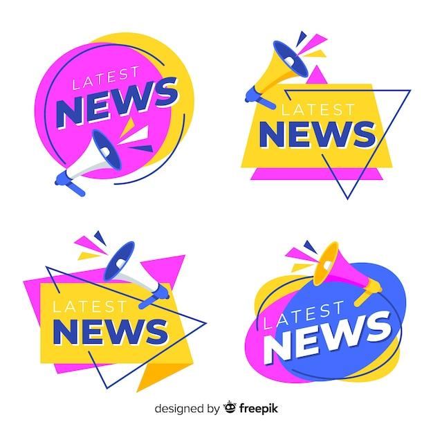 Pack banner origami últimas noticias vector gratuito