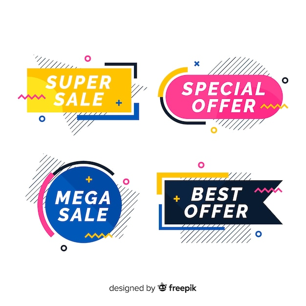 Pack banner rebajas coloridos memphis vector gratuito