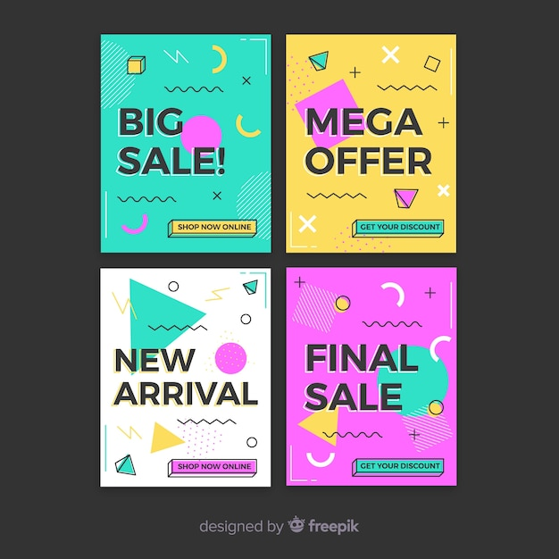 Pack de banner de venta de memphis vector gratuito