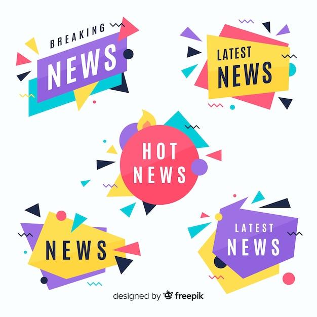 Pack banners coloridos últimas noticias vector gratuito