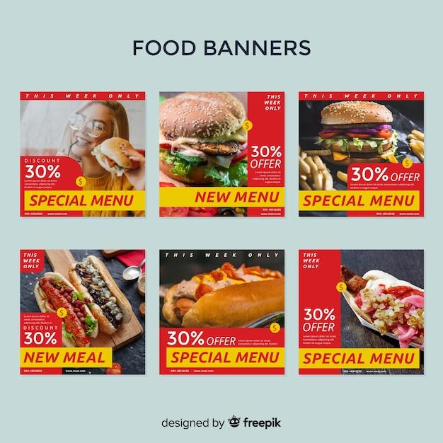 Pack banners fotográficos cuadrados con foto vector gratuito