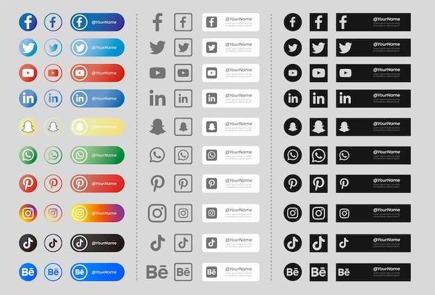 Pack de banners con iconos de redes sociales en blanco y negro vector gratuito