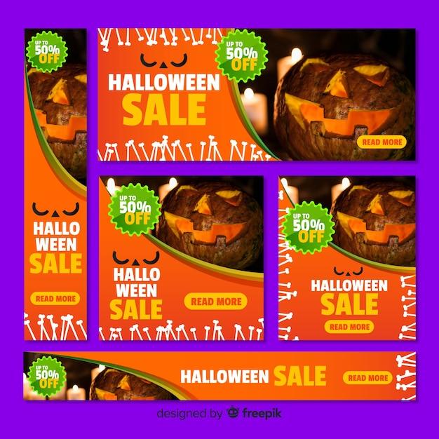 Pack de banners de rebajas web de halloween con foto vector gratuito