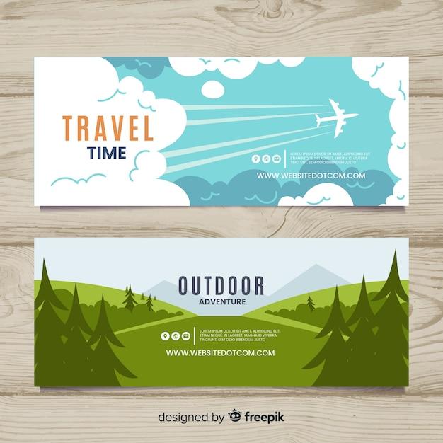 Pack banners de viaje planos vector gratuito